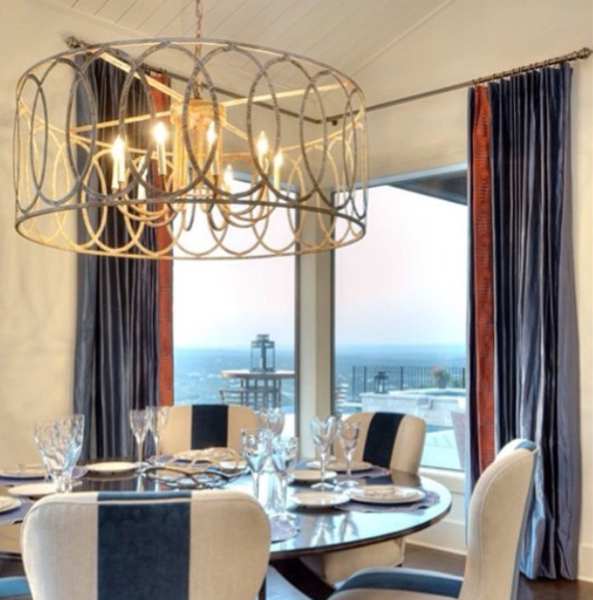 Looking for a beautiful wrought iron drum pendant for your dining room or living room lighting