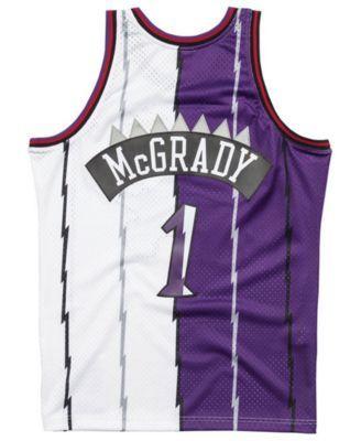 106f42f4f30e Mitchell   Ness Men s Tracy McGrady Toronto Raptors Split Swingman Jersey -  Purple White M