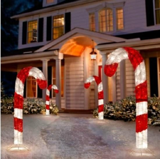 4 Foot Lighted 3d Tinsel Candy Cane Outdoor Christmas Holiday Yard Art Decor Christmas Yard Decorations Holiday Decor Christmas Christmas Yard