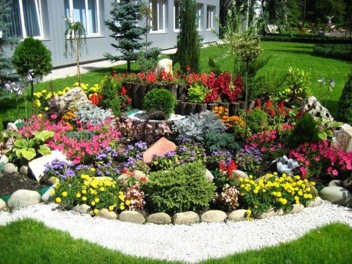 Ideen Zum Thema Blumenbeet Mit Steinen Dekorieren  Garten