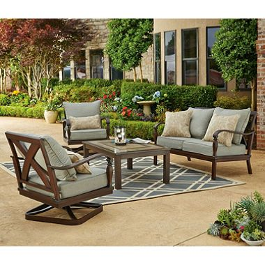 Brittany 4 Pc Conversation Set Outdoor Furniture Sets Patio Lounge Furniture Patio Furniture Conversation Sets
