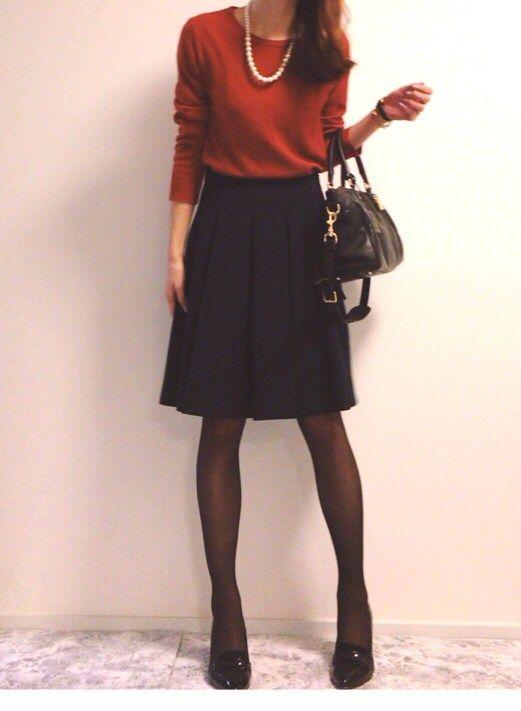 ♡コーデ♡GUカラーニットとフレアスカートで可愛さUP