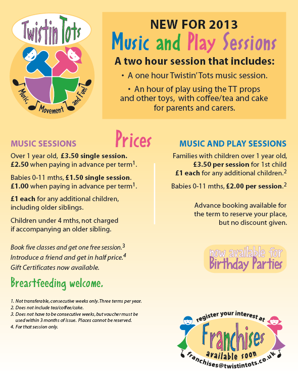 © Wild Ideas and client. 6th edition to Twistin tots flyer. thuis is the reverse - front remains the same. If you are interested in becoming a franchisee of this popular pre-school music group visit http://twistintots.co.uk/franchises.htm