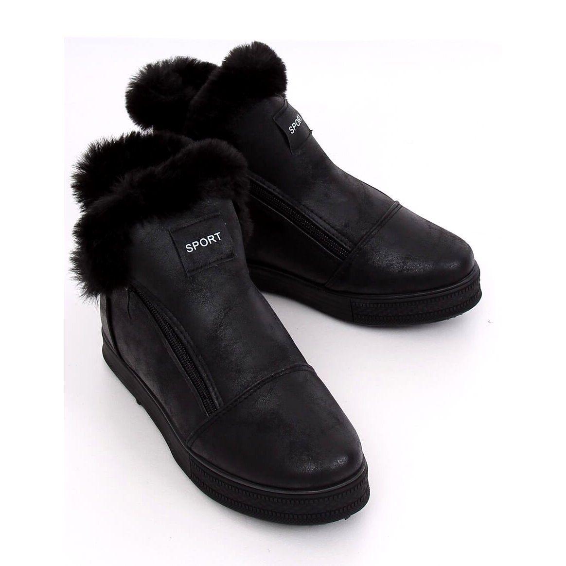 Trampki Za Kostke Z Futerkiem Czarne W19 29 Black Ii Gatunek Ankle Sneakers Boot Shoes Women Fur Heels