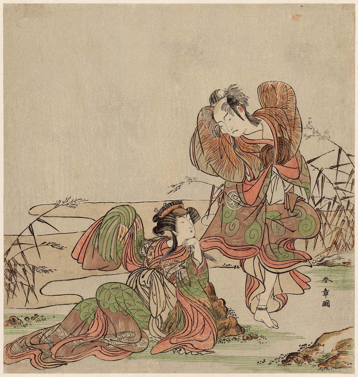二代目嵐三五郎と三代目瀬川菊之丞の鴛鴦 浮世絵 勝川 作品