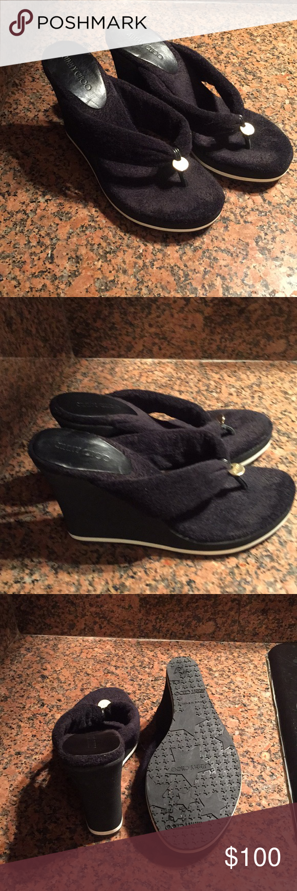 af0ae25907c8 Terry cloth thong sandals size 38!! Black terry cloth Jimmy Choo thong  sandals with gold - tone logo!! Great conditions.. Jimmy Choo Shoes Sandals