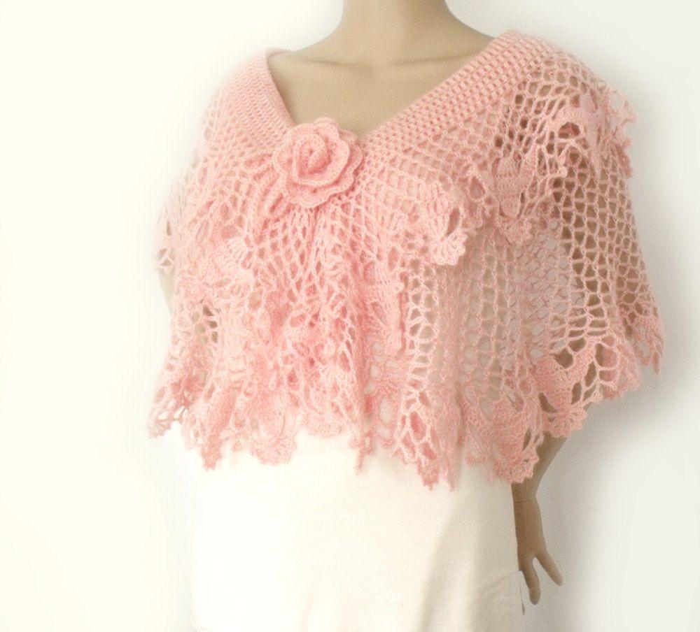 Cape poncho, Crochet cape, Lace crochet cape, Wedding cape, Bridal ...