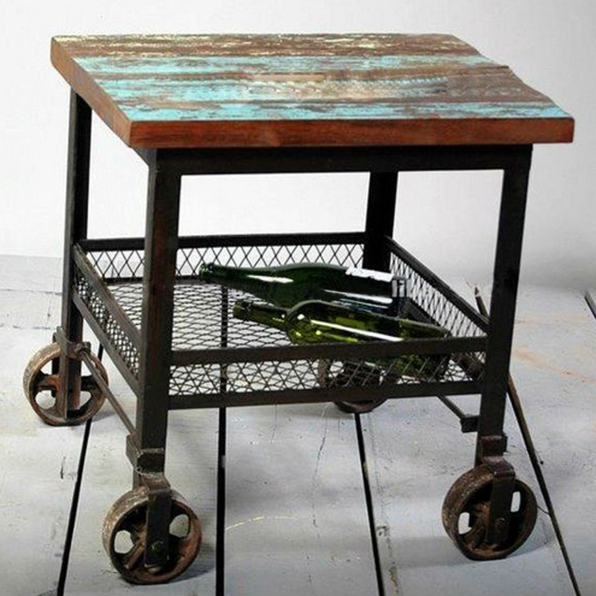 furniture vintage and minimalist industrial furniture table design with metal leg wheels wooden. Black Bedroom Furniture Sets. Home Design Ideas