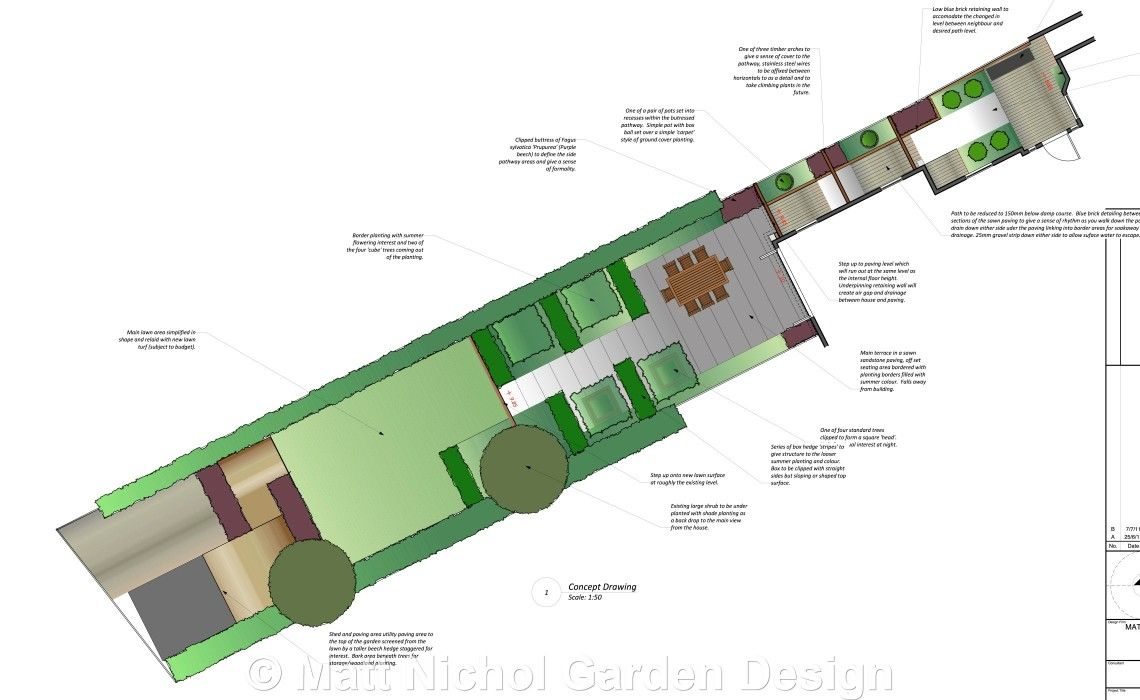 concept plan garden design long narrow garden