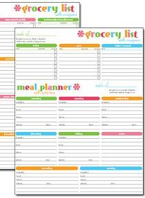 Free #printable Grocery List U0026 Meal Planner  Menu Planner Template Free