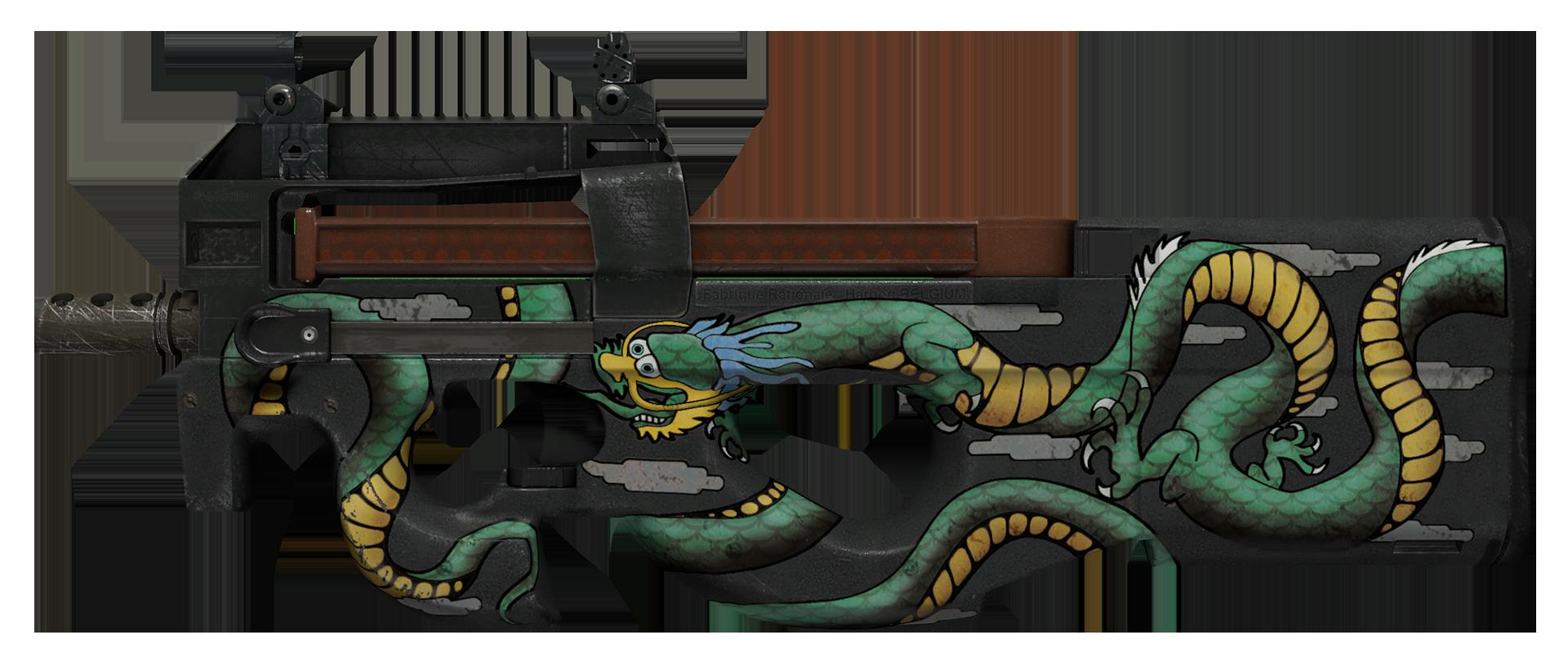 P90 Emerald Dragon Large Rendering Emerald Dragon Cool Swords Dragon