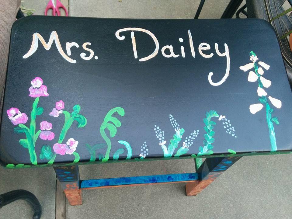 teacher stool painted by Mary Dailey
