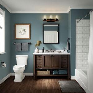 Allen Roth Kingscote 48 In Espresso Single Sink Bathroom Vanity With White Engineered Stone Top Lowes Com In 2020 Vintage Bathroom Decor Trendy Bathroom Bathroom Interior