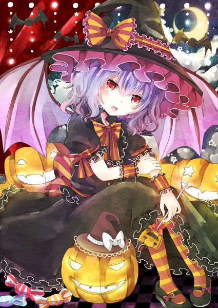 halloween remilia scarlet anime girl purple hair witch bat wings
