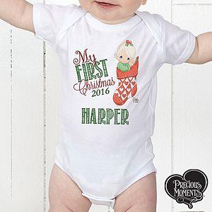 Personalized Precious Moments Christmas Baby Bodysuit Precious