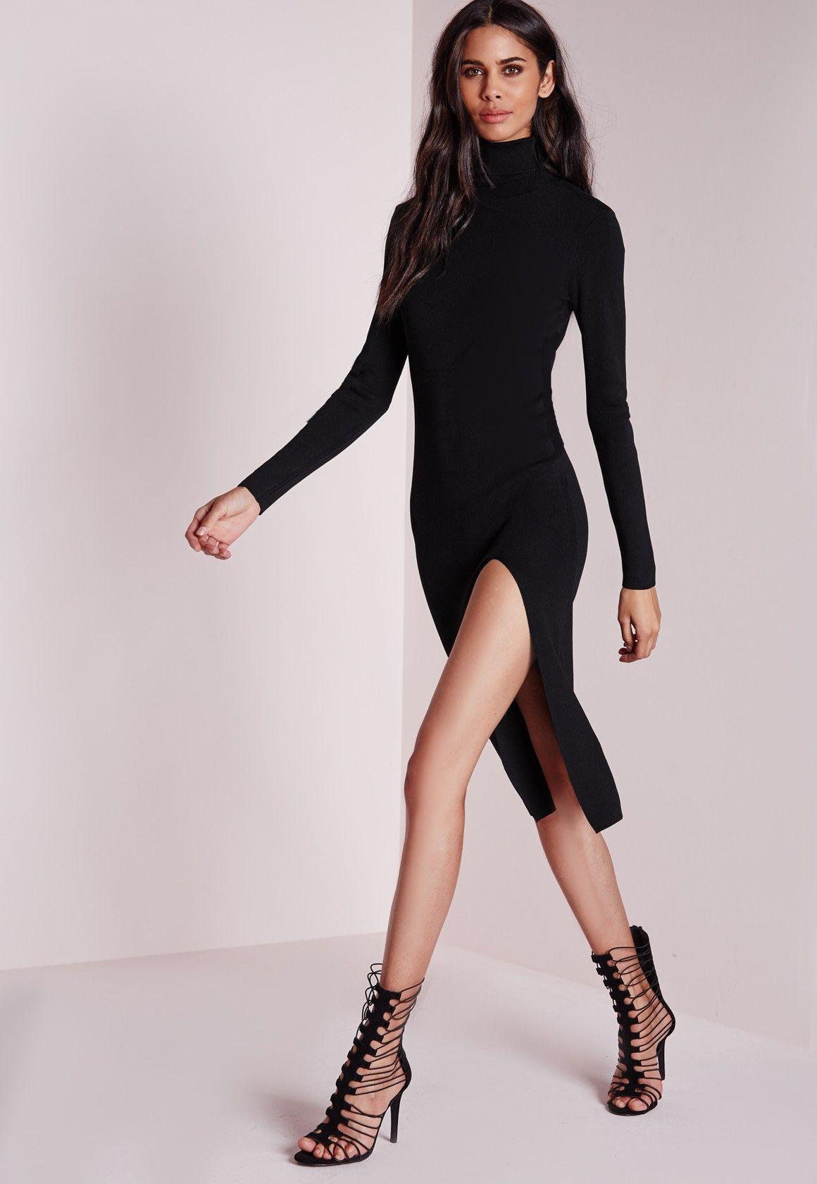 Missguided polo neck high split knitted midi dress black