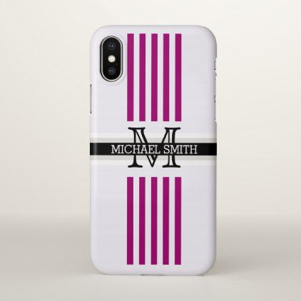 Flirt Stripes Pattern Monogram iPhone X Case - chic design idea diy elegant beautiful stylish modern exclusive trendy