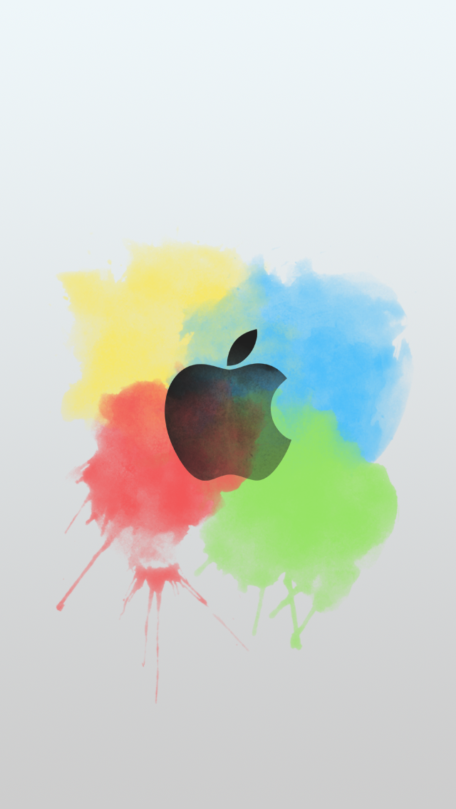 Paint Brush Color Splash Apple Logo Light IPhone 5 Wallpaper