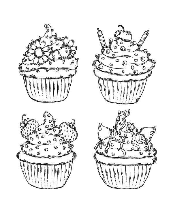раскраски сладости разные виды кексов раскраски