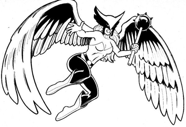 hawkgirl-coloring-pages-11.jpg (600×411) | Coloring 4 Kids: DC Super ...