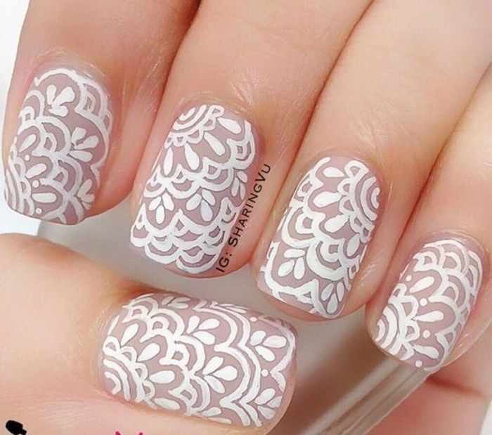 20 Trendy Lace Nail Art Designs 2016 | Fashion Te - 20 Trendy Lace Nail Art Designs 2016 Lace Nail Art, Nail Art
