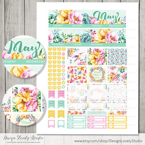 Erin Condren May Stickers, May Monthly Planner Kit, ECLP May Planner Stickers, Monthly Printable Stickers, Floral Spring Planner, MV126