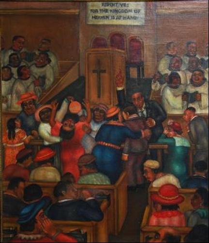 "The Church Scene, Georgette Seabrooke, 1935, 31""x 26"", Oil on Canvas"
