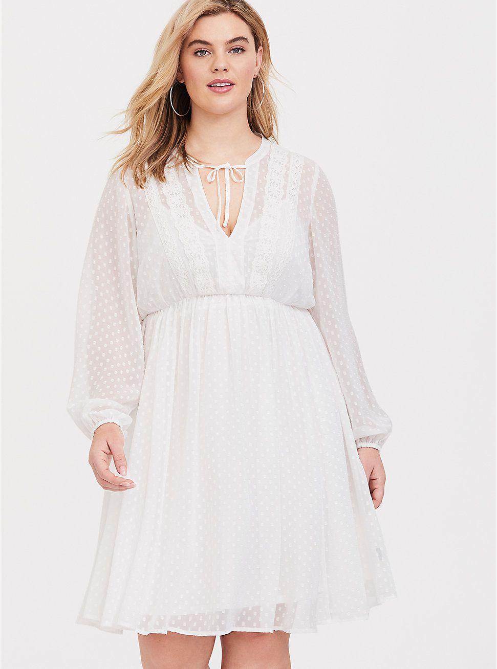 White Clip Dot Chiffon Babydoll Dress Chiffon Babydoll Dress Long Sleeve Babydoll Dress White Boho Dress [ 1308 x 971 Pixel ]