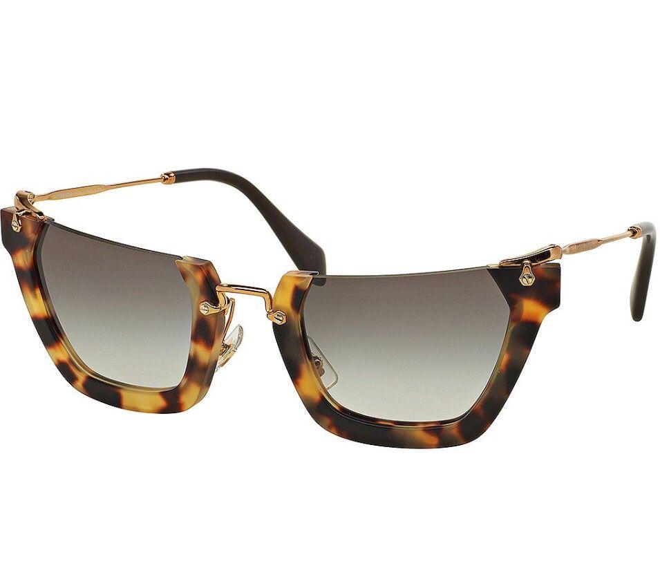 aac7e8177602 Squared Cut-Off Cat-Eye Sunglasses (Yellow Brown)    By Miu Miu   Neiman  Marcus