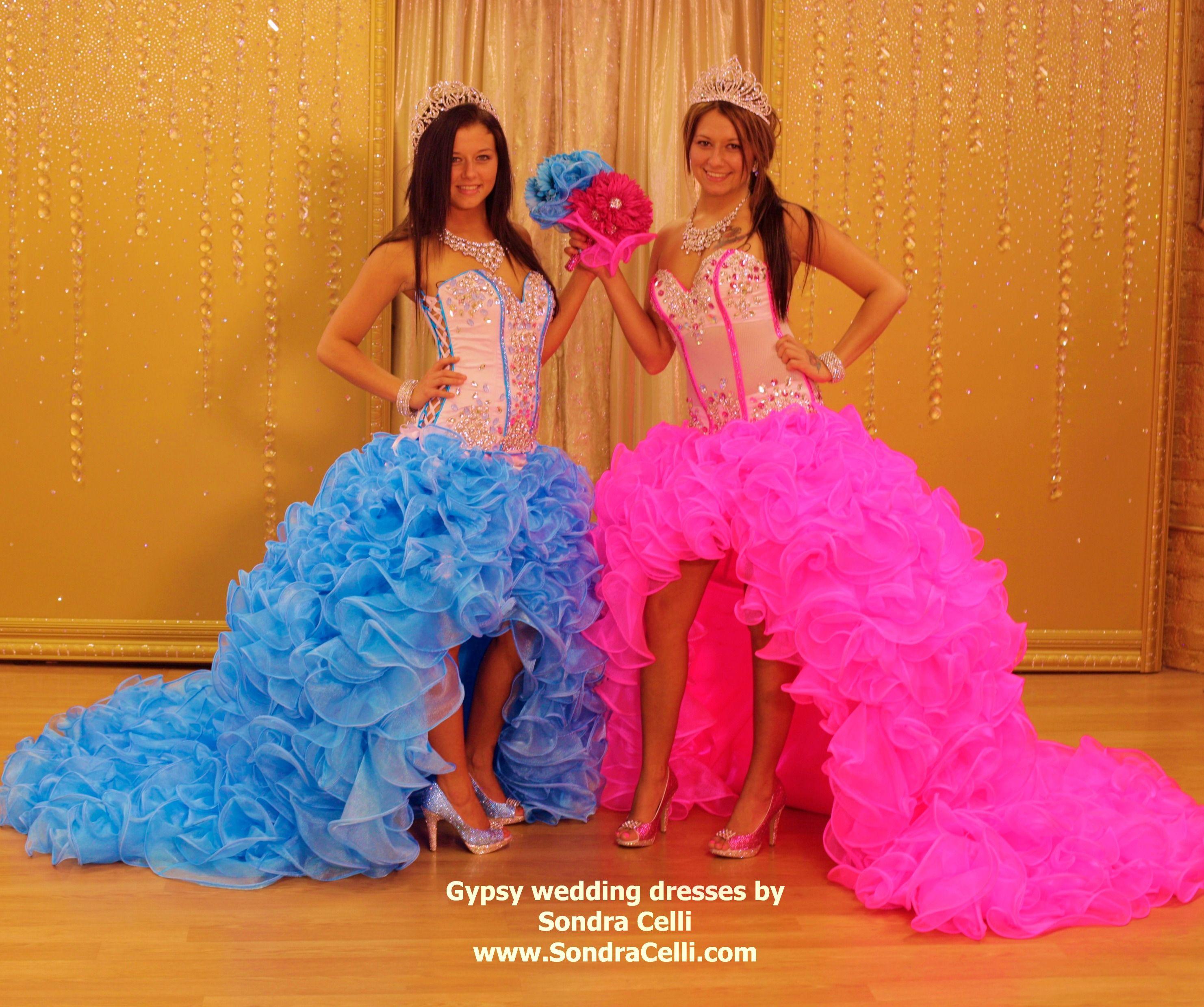 American Gypsy Wedding: High/low Ruffled Skirts Of Crystal Organza With Blinged