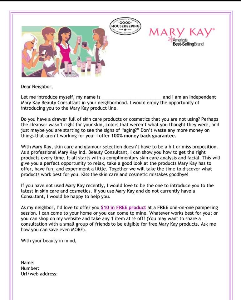 Letter To Neighbors Mary Kay Business Ideas Mary Kay Mary Kay