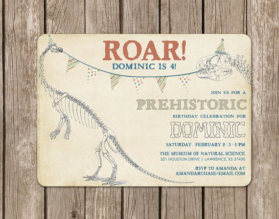 Dinosaur Invitation Perfect For A Dino Birthday Party