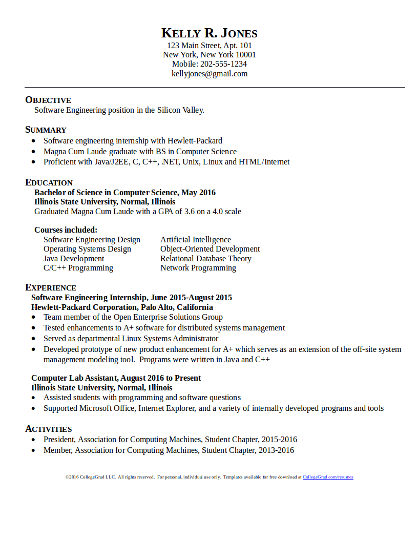Computer Science/Software Engineer resume template