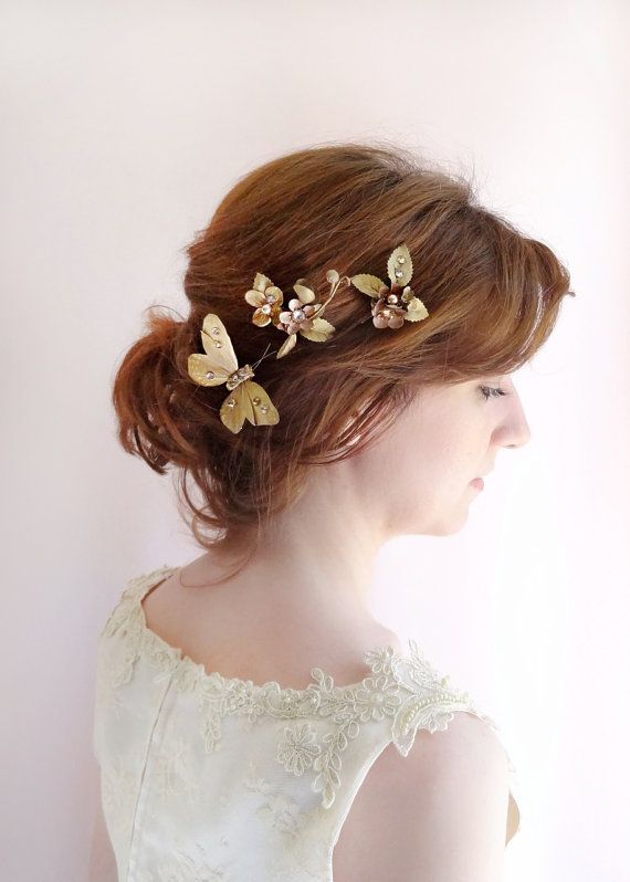 527af2744 bronze gold hair clip, bridal hair pins, bronze hair comb, flowers for hair,  butterfly hair clips, S