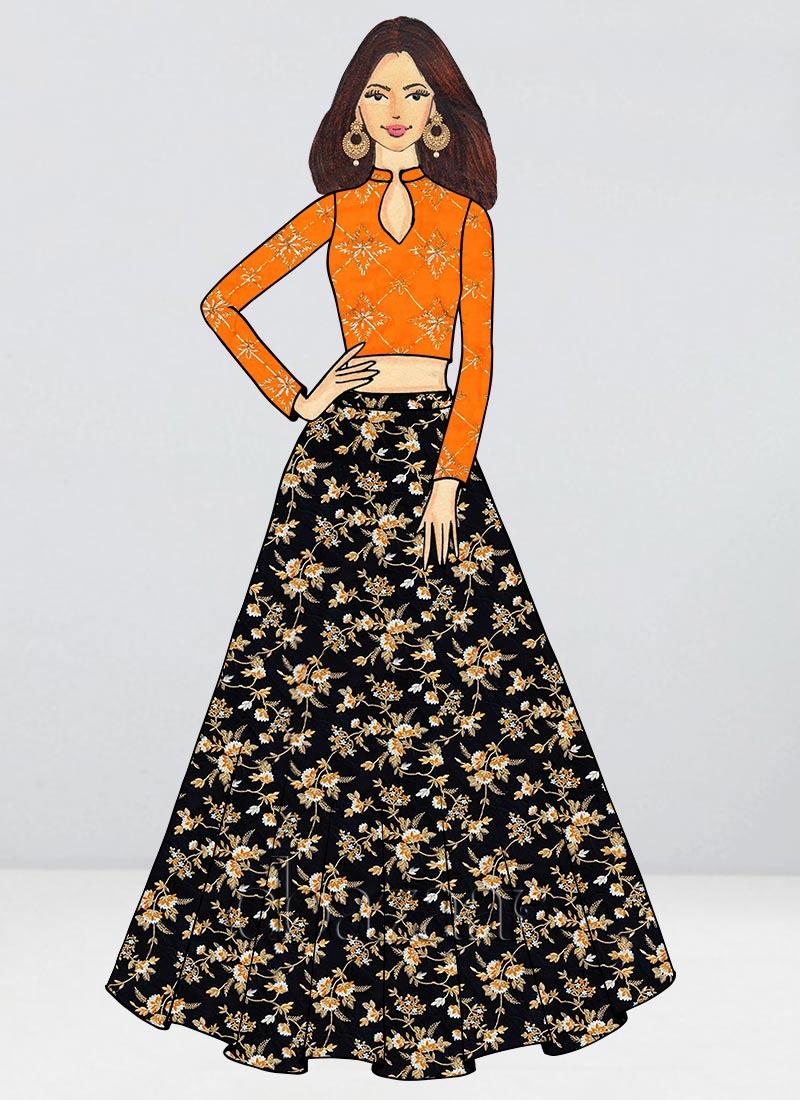 873316c9c4 Buy Bollywood Vogue Custom Made Embroidered Skirt Set, Wedding ...