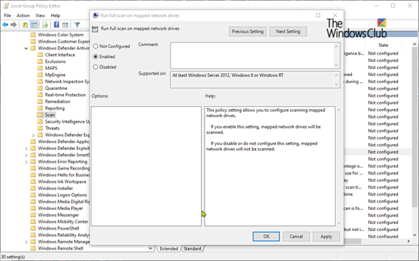 Windows Defender Scan Mapped Network Drives Windows Defender Network Drive Networking
