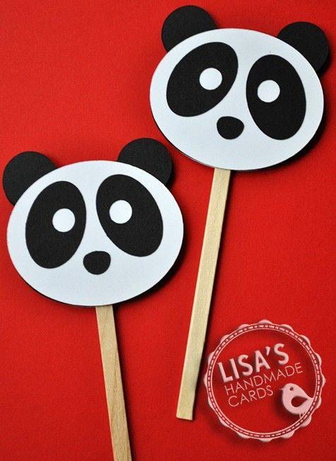 Panda Cupcake Toppers, Handmade by Lisa