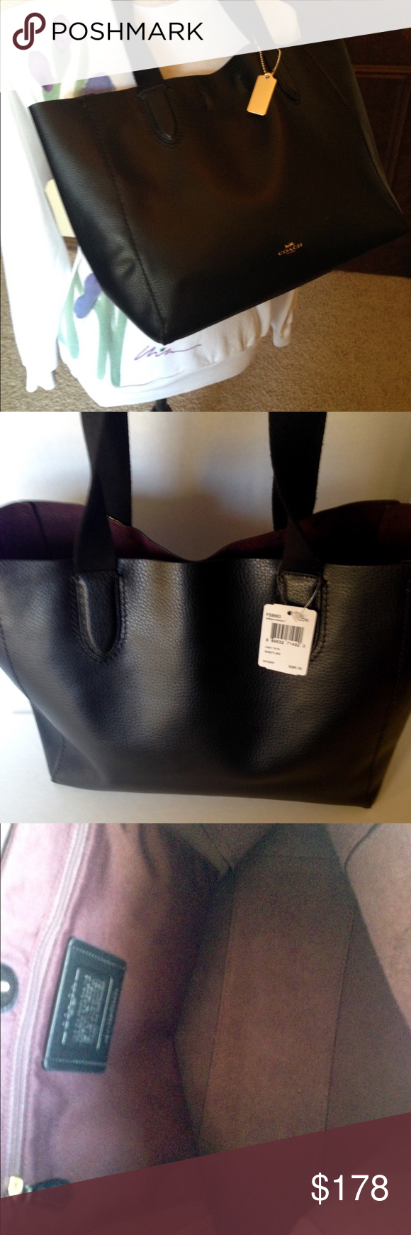 a464345f3911 NWT Coach Derby Tote Pebbled Lthr Black New with tags pebbled leather Coach  Derby Tote black. Open top with magnetic snap closure. Oxblood lining.