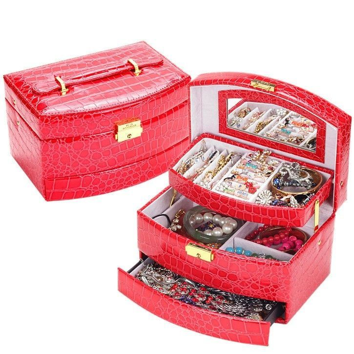 New Fashion women Crocodile leather jewelry box display organizer