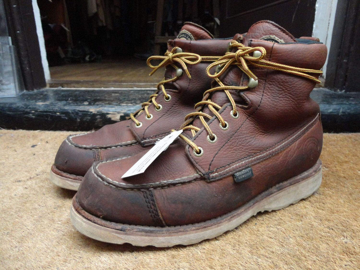 Leather work gloves ireland - Vintage Red Wing Irish Setter Brown Leather Moc Toe Work Boots White Sole 838 Us 10 Uk 9 Rugged Hunting