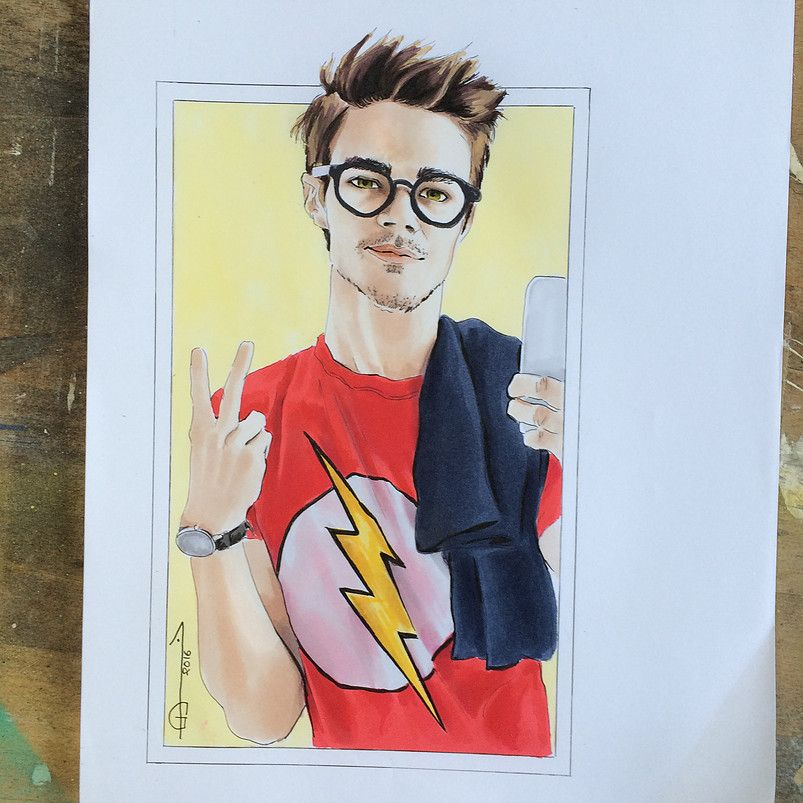 Grant Gustin Barry Allen Flash Artwork, drawing, fanart, comics DC comics
