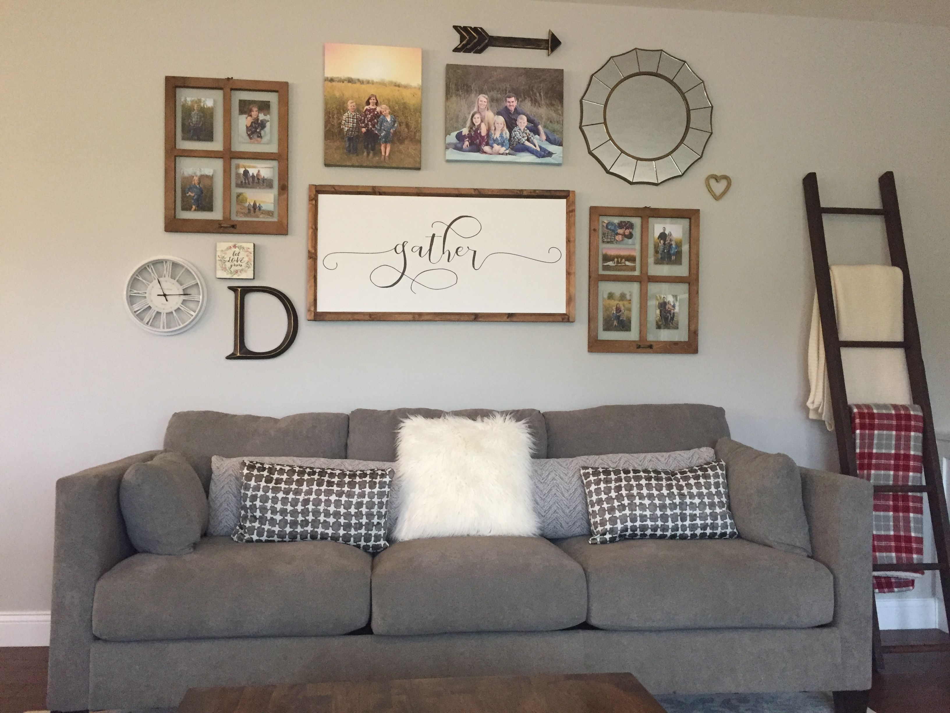 Livingroom gallery wall above couch #farmhouse #gallerywall