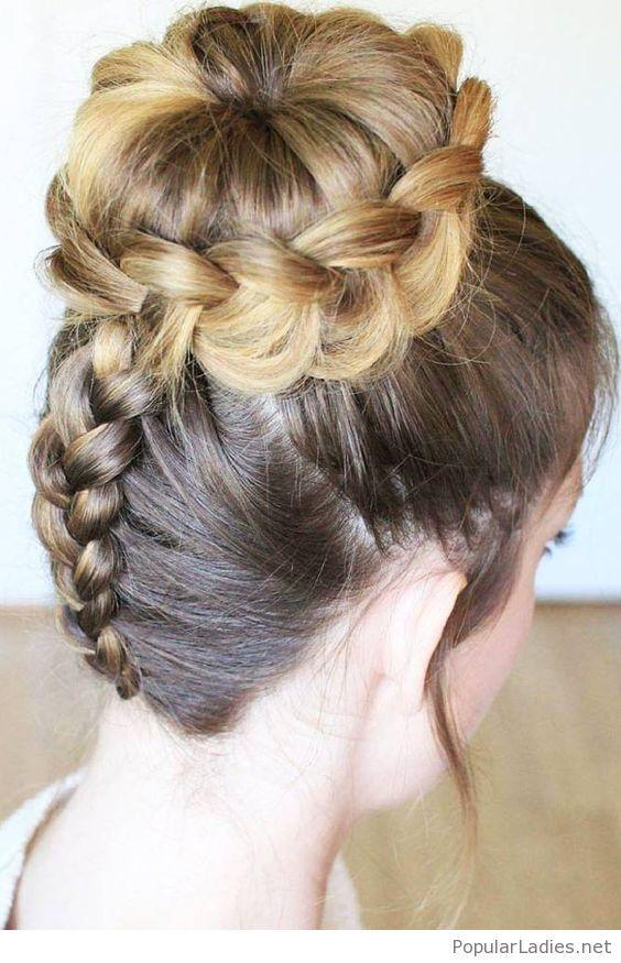 Back Braid With A High Bun Hair Styles Long Hair Styles Dance Hairstyles