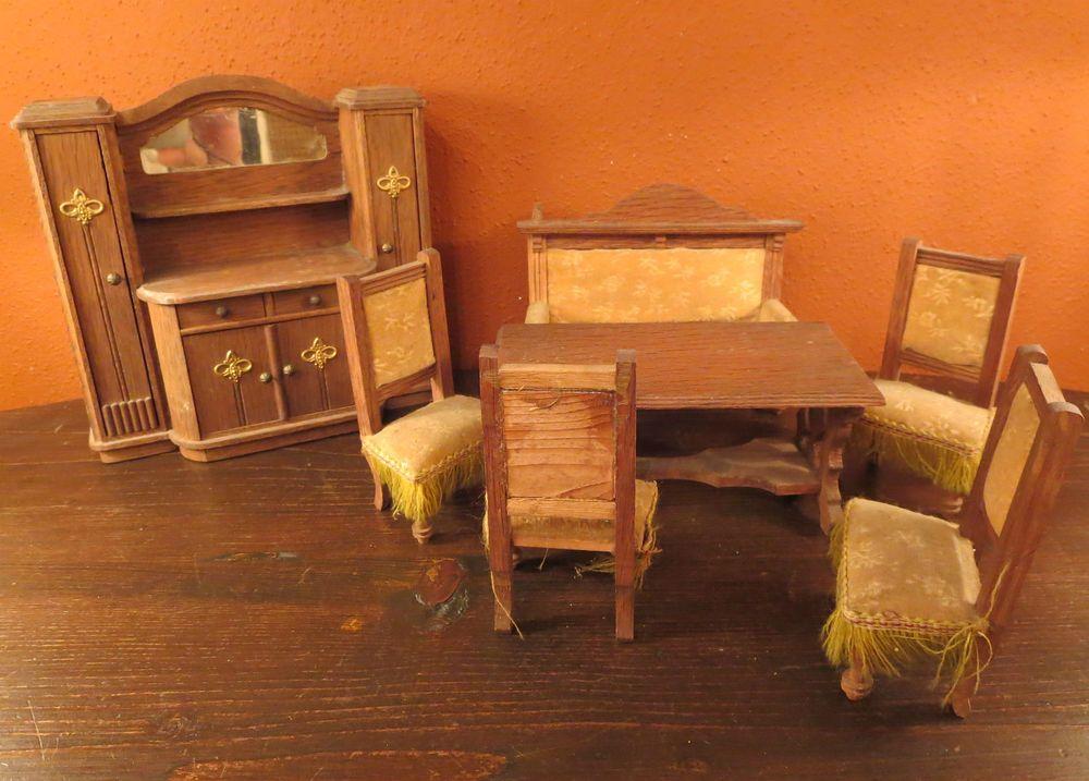 7 antike gr nderzeit m bel um 1900 schrank tisch sofa 4 st hle puppenstube gr nderzeit. Black Bedroom Furniture Sets. Home Design Ideas