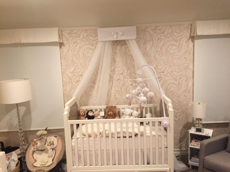 Baby Girls Nursery Bedroom Bed Canopy Ivory Cream Pink Jojo Crown Tiara Princess Free White Sheer Curtains Shipping Custom Design So Zoey Baby Girl Room Decor Baby Canopy Girl Nursery Bedding