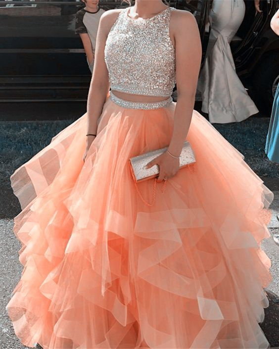 Orange Prom dress,Two Pieces Prom Dress,Beading Evening dress,O-Neck Prom Gown
