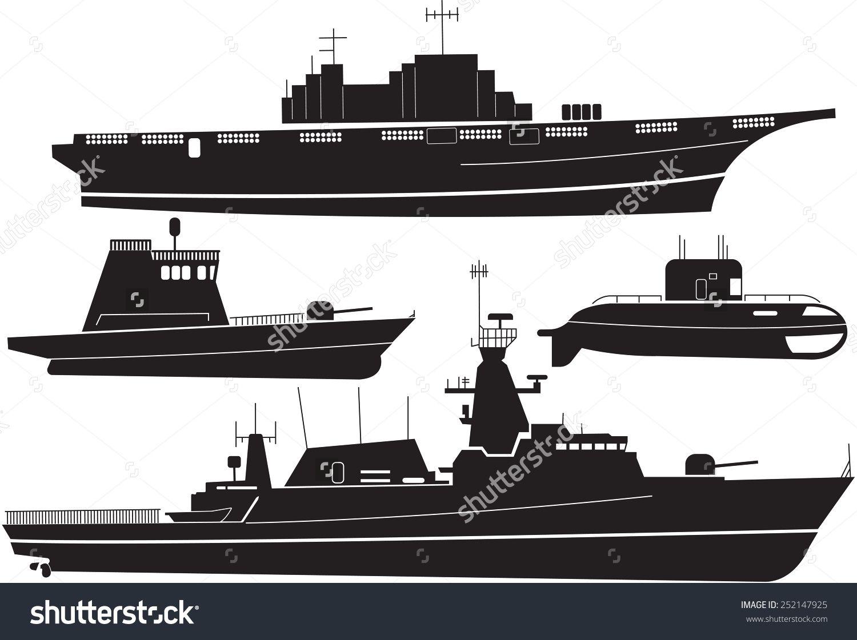 Silhouette Of Battleship Stock Vector Illustration 252147925 ...