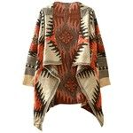Cashmere Geo-print Open Front High Low Cardigan