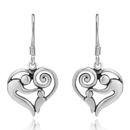 925 Sterling Silver Heart Shaped Mother And Child Earrings Gift For Mom Love
