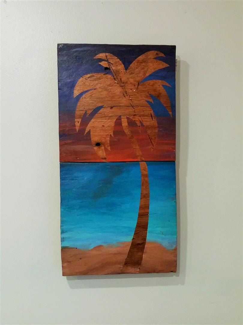 Palm Tree Beach Art Reclaimed Wood Art 12x22 Wall Decor